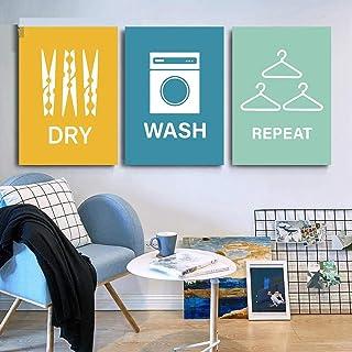 FDONTR Blanchisserie Citations Art Impression Salle de Bain Affiches Cintre Mur Art Toile Impression Nordique Mur Photos p...