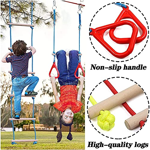 ZPCSAWA Warrior Obstacle Course for Kids 50FT, The Most Complete Hanging Monkey Bars kit, Line Rings, Climbing Rope Ladder&Climbing Cargo Net, for Backyard Outdoors