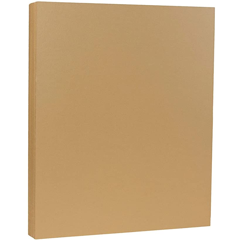 JAM PAPER Matte 80lb Cardstock - 8.5 x 11 Coverstock - Tan/Light Brown - 50 Sheets/Pack