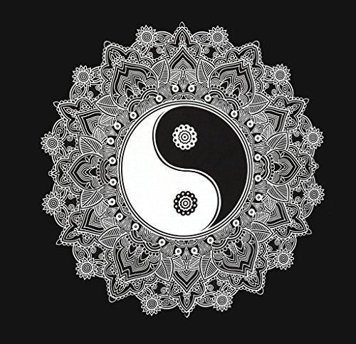Aakriti Gallery Hippie-Wandteppich mit einem Mandala, schwarz und weiß, in Boho-Stil, psychedelische, aufwendige, indische Tagesdecke, 233,7x 208,3cm Ying Yang Black