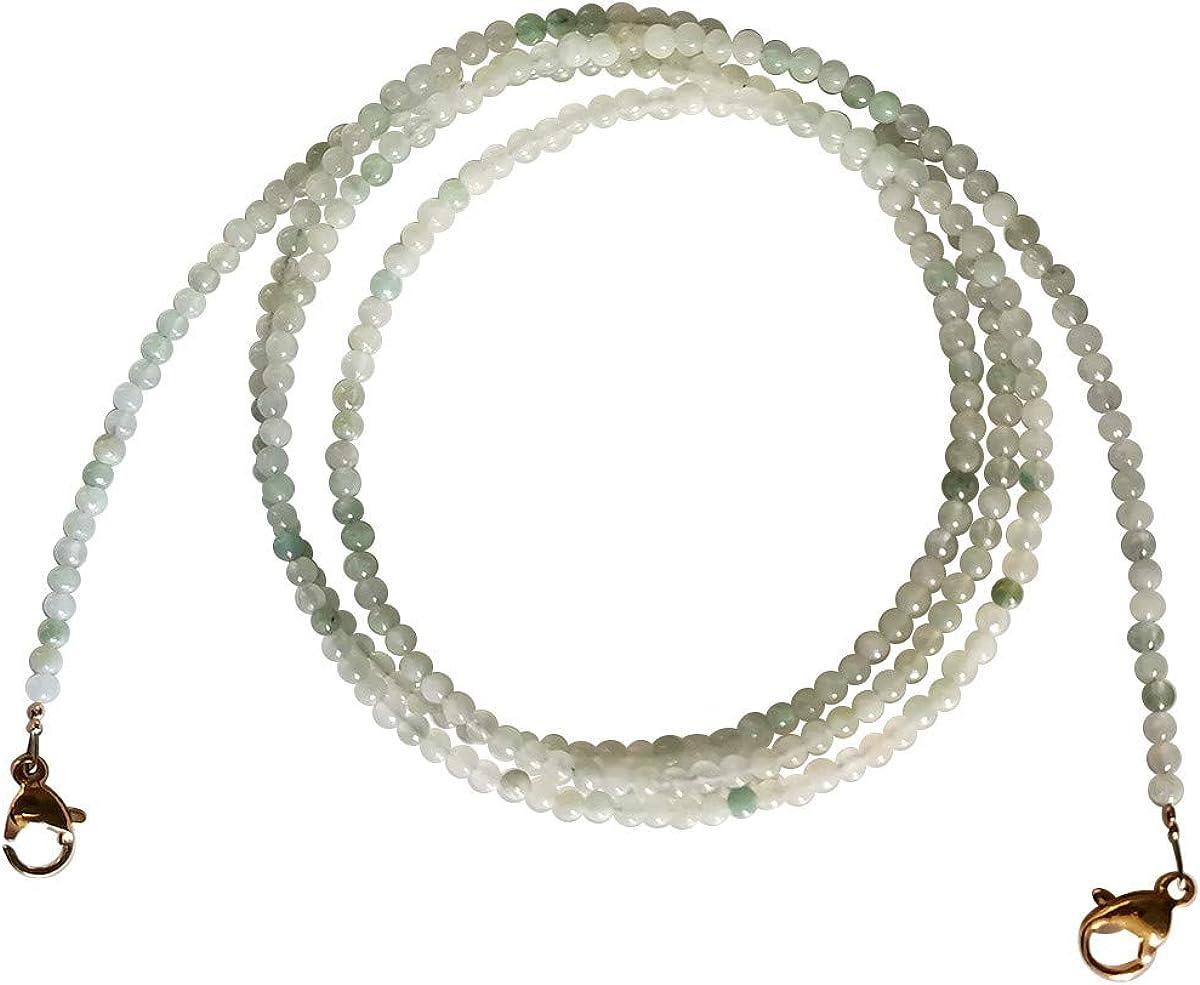 Qordelia Genuine 2mm Natural Jade Round Bead Glasses Chain Lanyard Necklace Bracelet Strap Eyeglass Chains