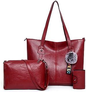 Fanspack 3PCS Lady Tote Bag Set Multipurpose Handle Bag Shoulder Bag Purse with Key Case