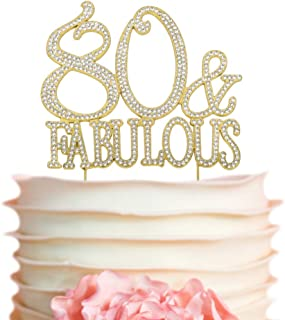 80 & Fabulous GOLD Cake Topper | Premium Sparkly Bling Rhinestone Crystal Diamond Gems | 80th Birthday Decoration Ideas | Perfect Keepsake (80&Fab Gold)