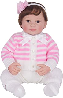 PURSUEBABY Real Newborn Baby Dolls Realistic Open Eyes Girl Cherry 20 inch Weighted Lifelike Reborn Baby Dolls Girls with Gift Box Set