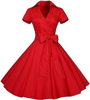 BaZhaHei Vestidos de Mujer Falda Mujeres Vestido de Fiesta 50S 60S Swing Pinup Retro Ama de casa Informal Partido Bola La Sra. Vintage Imprimir Hepburn Viento Vestido de Cintura