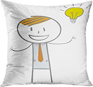 Throw Pillow Cover Yellow Man Doodle Stick Figure Businessman with Big Idea Character Thinking Decorative Pillow Case Home Decor Square 18x18 Inches Pillowcase