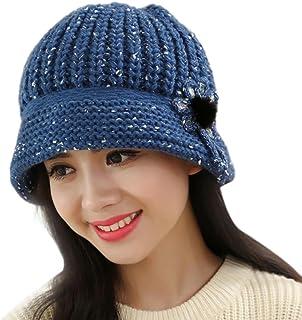 Amiley Women Knitted Visor Beanie Hat Wool Cap Beret Beanie Cloche Bucket Hat