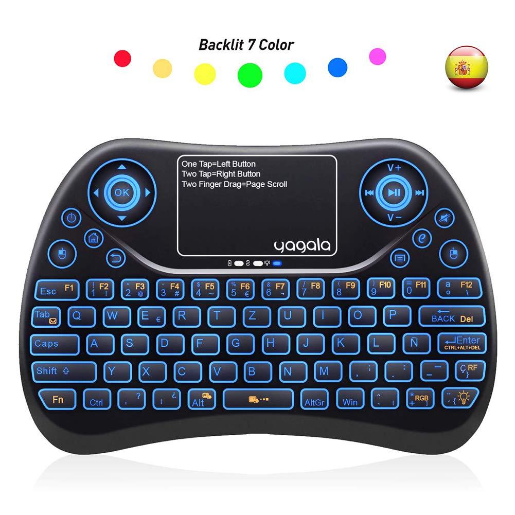 YAGALA Mini Teclado inalámbrico retroiluminado 2.4GHz con Touchpad Mouse combinato de Color 9 Cambios de Color per Android TV Box, PC, Pad, Smart TV, X-Box, HTPC: Amazon.es: Electrónica