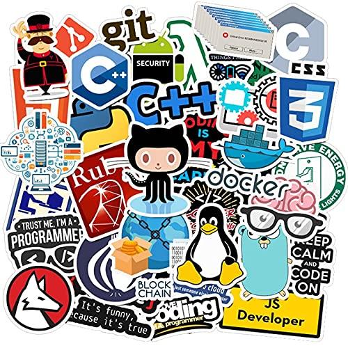 XXCKA 50Pcs Internet Java Sticker Geek Programmer PHP Docker HTML Bitcoin Cloud C++ Linguaggio di Programmazione per Laptop Adesivi per Auto F5