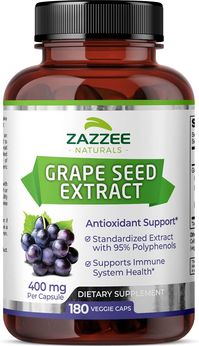 Zazzee Grape Seed Ranking TOP11 Extract 20 000 Capsules Strength mg 180 Vegan Max 74% OFF