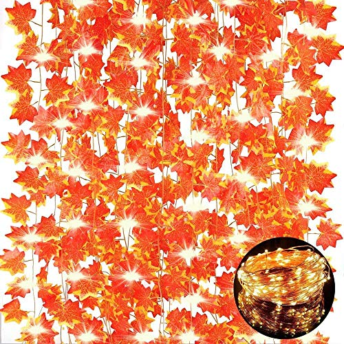 12 Pack Fall Maple Leaf Garland with 100 LED String Lights, 7Ft/Piece Artificial Leaves Hanging Vines Autumn Garland for Thanksgiving Decorations,Fireplace Mantel,Home,Wedding,Thanksgiving Gifts