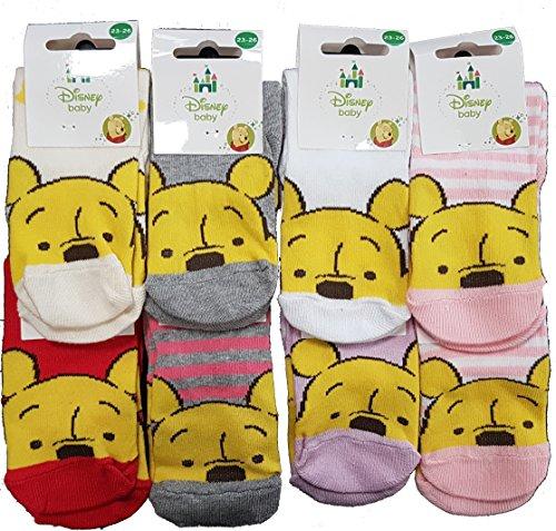 Disney. Chaussettes bébé fille Winnie l'Ourson fantaisie. Modèle photo assorti selon arrivage (23/26, Lot de 6 paires)