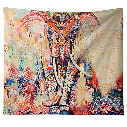 Vibrant Watercolor Elephant Wall Hanging Décor, Indian Boho Hippie Trippy Tapestries Wall Art Decor, Mandala Mural Bedspread Tablecloth Beach Shawl Coverlet Picnic Blanket