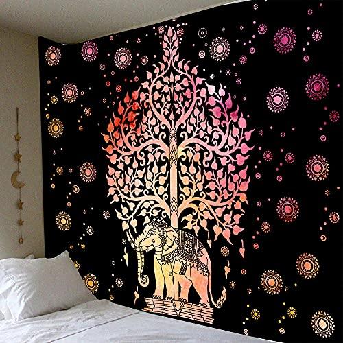 KHKJ Tapiz de Mandala de Pared Celestial para Colgar en la Pared, alfombras de Pared Hippie de Sol y Luna Negros Blancos, decoración de Dormitorio, Tapiz psicodélico A2 95x73cm