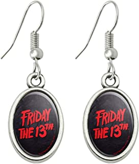 Friday The 13th Logo Novelty Dangling Drop Oval Charm Earrings