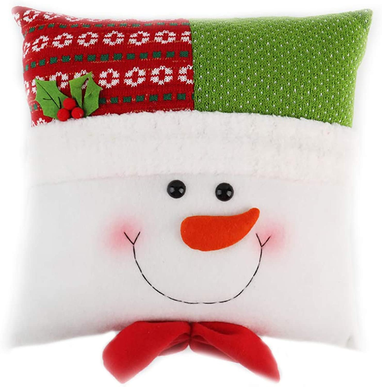 AzuNaisi Christmas Pillow Covers 13 X 13 Inch Cartoon Snowman Throw Pillow Case Cushion Covers Christmas Home Sofa Decorative