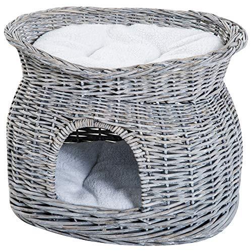 Pawhut Cuccia per Gatti a 2 Ripiani in Vimini Grigio con 2 Cuscini Lavabili Interno Esterno 56 × 37 × 40cm