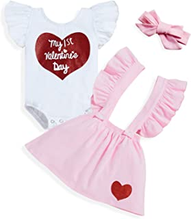 Sponsored Ad - Sinhoon Baby Girl Valentine's Day Skirt Outfits Toddler Girl Ruffle Romper+Short Suspender Dress+Headband 3...
