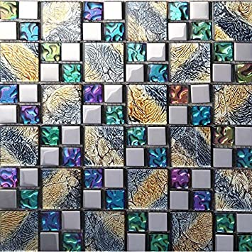 Hominter 11 Sheets Multicolor Tile Backsplash Coated Glass Mosaic Bathroom Tile Clear Multi Colored Crystal For Kitchen And Shower Walls D1391 Amazon Com