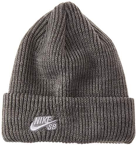 Nike SB Fisherman Beanie - Mütze, unisex, Unisex – Erwachsene, Gris / Weiß (Dk Grey Heather/White), MISC