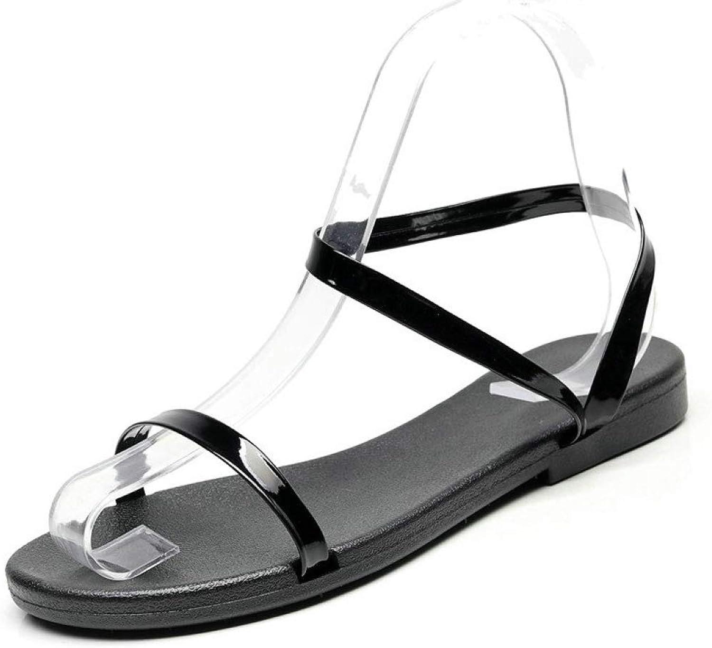 JOYBI Women Casual Flat Sandals PU Leather Slip On One Word Comfort Ladies Fashion Open Toe Sandal shoes