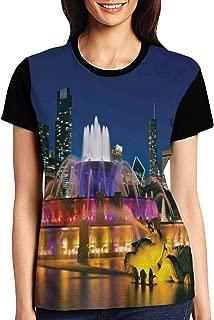 Women's T Shirts,Buckingham Fountain Landmark in The Center of Grant Park Vibrant Night