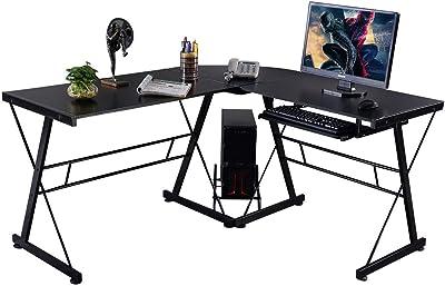 TNPSHOP Computer Desk L Shaped Desk Laptop Table W/Keyboard Tray Home  Office Furniture