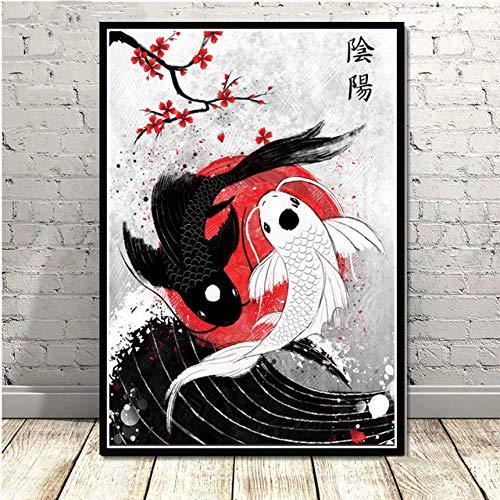 zzzddd Leinwand Bild,Japanische Schwarze Und Weiße Fisch Tierische Dekoration Drucken Gemälde Malerei Wand Kunst Modulare Nordic Leinwand Poster Modernes Bett Hintergrund, 70 * 100 cm