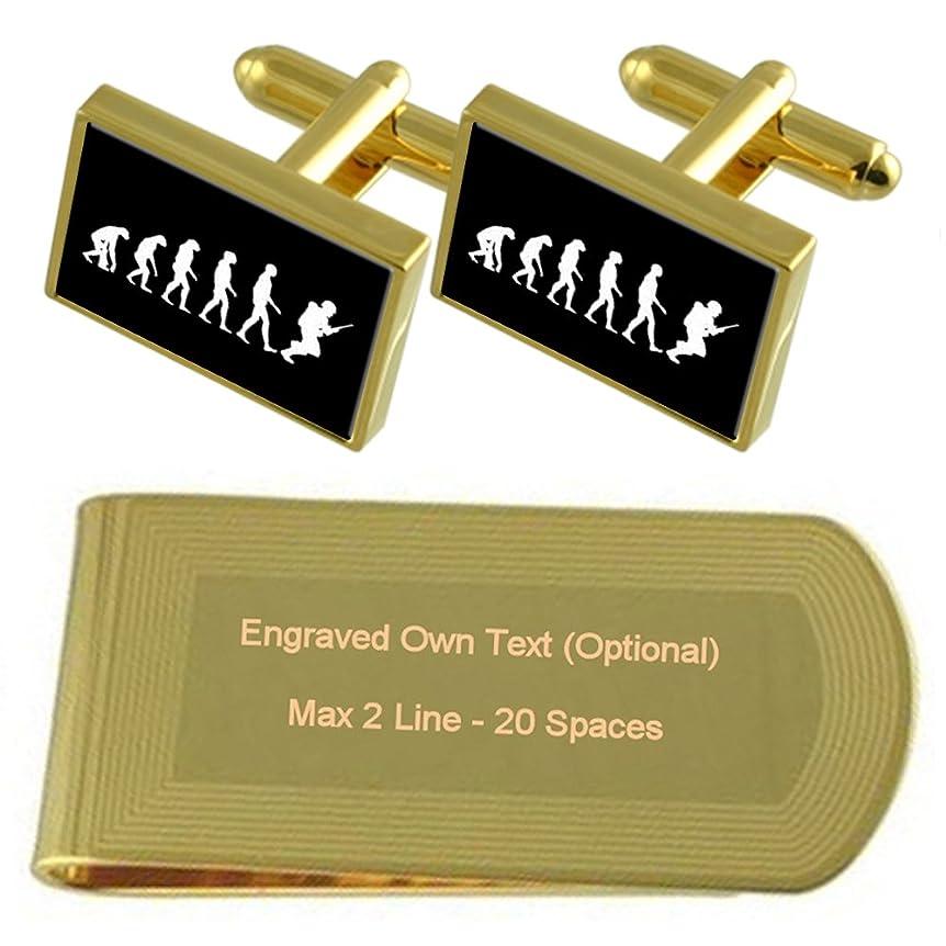 ミュージカル価値百科事典進化猿人兵士のゴールドのトーン カフスボタン お金クリップを刻まれたギフトセット