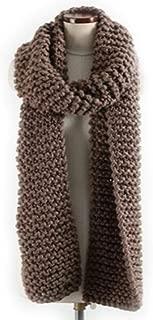 Merino Wool Chunky Long Knit Handmade Scarf 100% Pure Merino Brown Tan