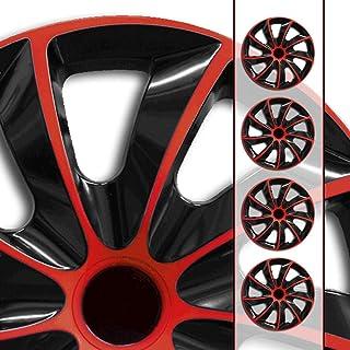 Autoteppich Stylers 16 Zoll Radkappen Quad Schwarz Rot (Farbe und Größe wählbar!)