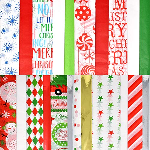 Christmas Tissue Paper Bulk Holiday Wrapping Sheets 200 Sheets 20' x 20' 17 Color Assortment Christmas Design Solid Metallic and Printed Gift Wrapping Accessory for Christmas Gifts Wine Bottles
