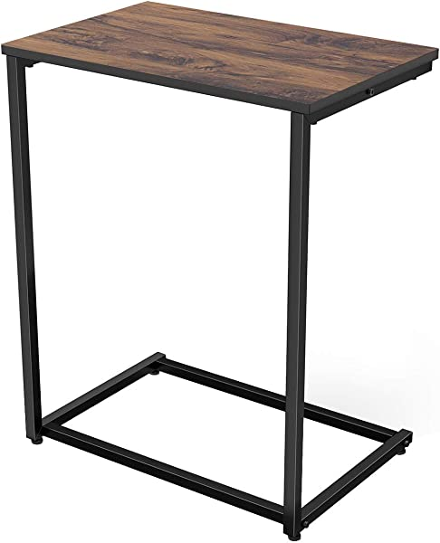 Homemaxs C Table Sofa Side End Table Wood Finish Steel Construction 26 Inch For Small Space