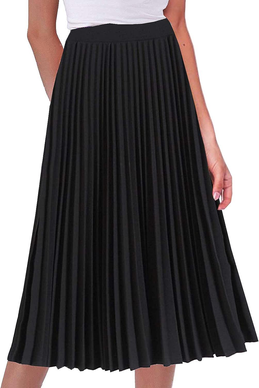 GOLDSTITCH Women's High Waist Over Oakland Mall item handling Pleated Skirt Midi line Swing Sk A