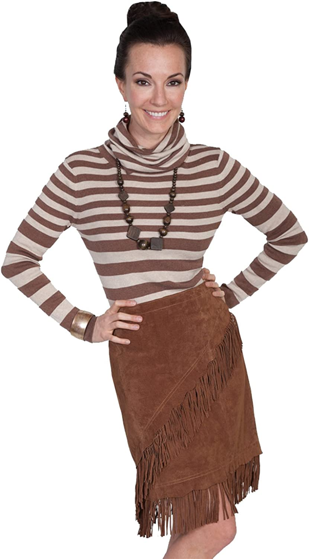 Elfurie Ladies Suede Fringe Skirt - Cinnamon