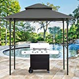 Grill Gazebo for Patios Outdoor, CPAI-84 Fire Retardancy Standard, BBQ Canopy Tent 8x5 Double Tiered (Dark Gray)