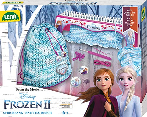 Lena Disney II 42030 - Kit de Tejer (Banco de Punto, Gancho de Punto, Aguja de plástico, Colgante de Frozen y Lana, Kit de Manualidades para niños a Partir de 6 años, Color Azul Hielo