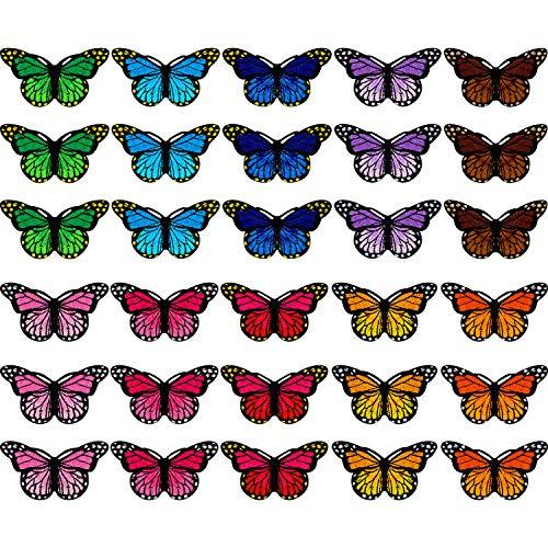 Parches de Mariposa Insignia Bordada Apliques Parche de Planchar y Coser para Bricolaje Decoración Camiseta Chaqueta Zapatos Bolsos Reparación Parche (30)