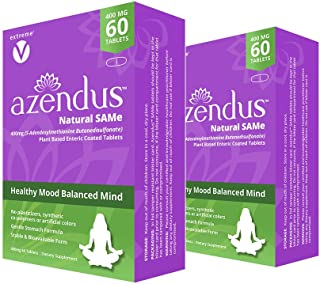 Azendus Mood 400mg 2-Boxes of S-Adendosylmethionine Butanedisulfonate (SAM-e) 120 Enteric Coated Tablets - ...