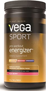 Vega Sport Pre-Workout Energizer Acai Berry (19oz, 30 Servings) - Vegan, Gluten Free, All Natural, Pre Workout Powder, Non GMO
