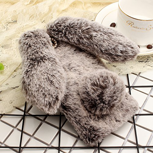 Smartisan Pro2S Art Case, Handmade Fluffy Villi Rabbit Baby Wool Cute Ball Tail Winter Warm Soft Cover, TAITOU Beautiful Special Big Ear Light Slim Protect Phone Case For Smartisan Pro 2S Brown