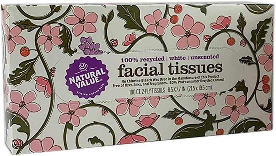Natural Value 100% Max 76% OFF Recycled 2-Ply Box Tissues Spasm price 100-ct. Facial