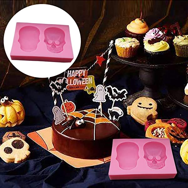 Panzisun Skull Chocolate Gummy Molds Skeleton Shape 3D Silicone Candy Ice Cube Tray Nonstick 2 Grids