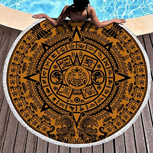 MINNOMO Toalla de playa redonda de secado rápido con borlas antiguas aztecas solares, calendario, impresión artística, redonda, toalla de playa, color blanco, 150 cm