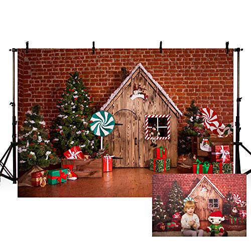 New 7x5ft Rustic Winter Christmas Baby Shower Backdrops Merry Xmas Glitter String Lights Brown Wood Wall Snowflake Photography Background Birthday Holiday Party Decoration Photo Banner Props