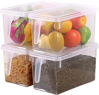 HapiLeap Organizador de Alimentos para Cocina/Congelador contenedor Transparente con Tapa y Asa (4 Pack)
