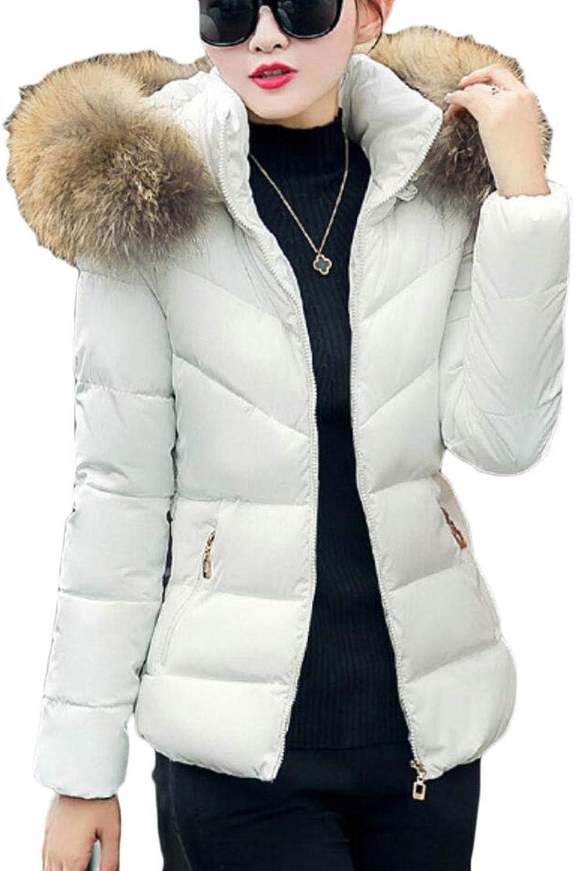 TymhgtCA Women's Thicken FauxFur Collar Warm Casual Slim Fit Down Jacket Coat