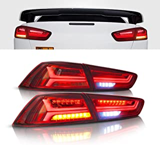 MOSTPLUS RED LED Tail Light Rear Lamp for 2008-2018 Mitsubishi Lancer w/Sequential Turn Light