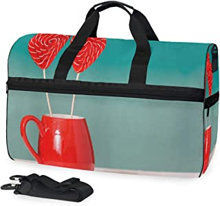 Travel Gym Bag Cup Lover Lollipop Casual Fashion Bag With Shoes Compartment Foldable Duffle Bag For Men Women