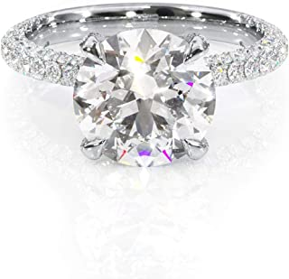 Keyzar Engagement Rings for Women, Promise Rings for Her, 14k or 18k White Gold Ring, Hidden Halo, Round Shaped Moissanite 2.7ct, D-F color VVS1 clarity, 1.12ct Diamonds, With Jewelry Diamond Ring Box